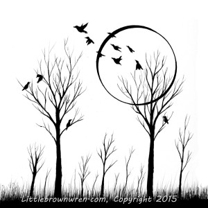 Birds and moon, Watermark