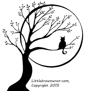 Cat and Moon Tree, watermark