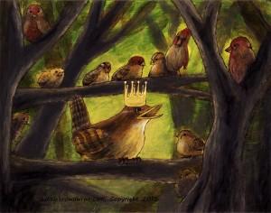 Wren is the King of the Birds, watermark